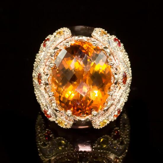 14K Gold 18.02ct Citrine, 1.40ct Orange Sapphire 1.25ct Diamond Ring