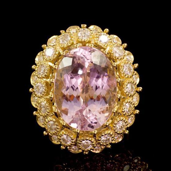 14K Gold 22.06ct Kunzite 2.47ct Diamond Ring