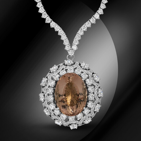 14K Gold 18.50cts Morganite & 11.80cts Diamond Necklace
