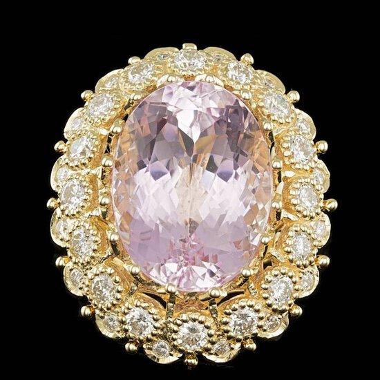 14k Gold 22.00ct Kunzite 2.45ct Diamond Ring