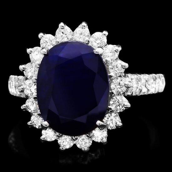 14k Gold 5.00ct Sapphire 1.00ct Diamond Ring