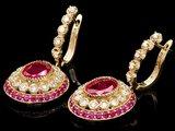 14k Gold 6.7ct Ruby 1.20ct Diamond Earrings