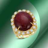 14K Gold 20.50cts Ruby & 1.79cts Diamond Ring