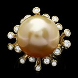 14k Gold 16 X 16mm Pearl 0.79ct Diamond Ring