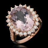 14k Gold 9.73ct Kunzite & 1.47ct Diamond Ring