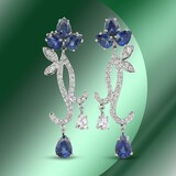 14K Gold 10.63cts Sapphire & 1.76cts Diamond Earrings