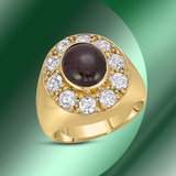 14K Gold 7.57cts Star Ruby & 2.25cts Diamond Ring