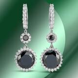 14K Gold 22.28cts Black Diamond Earrings