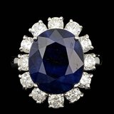 14k Gold 9.00ct Sapphire 1.80ct Diamond Ring
