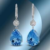 14K Gold 36.35 Blue Topaz & 1.30cts Diamond Earrings
