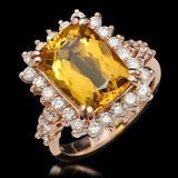 14K Gold 4.80ct Yellow Beryl & 1.12ct Diamond Ring