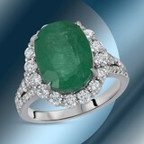14K Gold 6.02cts Emerald & 1.22cts Diamond Ring
