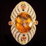 14K Gold 18.92ct Citrine, 0.75ct Fancy Color Sapphire 1.62ct Diamond Ring
