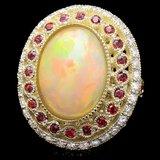 14k Yellow Gold 8.00ct Opal 1.20ct Diamond Ring