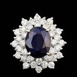 14k Gold 4.00ct Sapphire 2.00ct Diamond Ring