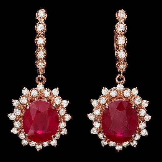 14k Rose 13.50ct Ruby 1.70ct Diamond Earrings