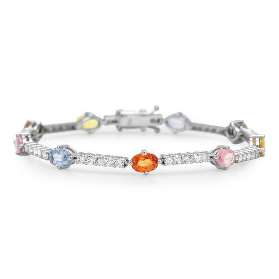 14K Gold 5.75ct Fancy Color Sapphire 1.73cts Diamond Bracelet