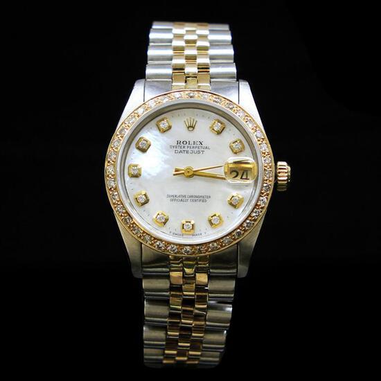 Rolex Two-Tone DateJust 31mm White MOP Dial Diamond Bezel Aprox. 1.5 cts. Wristwatch