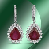 14K Gold 14.26cts Ruby & 5.41cts Diamond Earrings