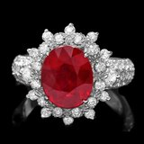14k White Gold 4.50ct Ruby 1.50ct Diamond Ring