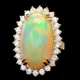 14k Yellow Gold 13.50ct Opal 1.40ct Diamond Ring