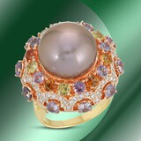 14K Gold 15mm South Sea Pearl, 6.14cts Sapphire & 1.22cts Diamond Ring