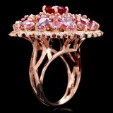 14k Rose Gold 11ct Sapphire 0.75ct Diamond Ring