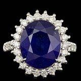 14k Gold 9.00ct Sapphire 1.15ct Diamond Ring