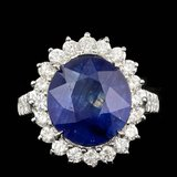 14k Gold 9.50ct Sapphire 1.35ct Diamond Ring