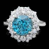 14k White Gold 5.50ct Zircon 1.60ct Diamond Ring
