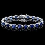14k Gold 15.00ct Sapphire 0.60ct Diamond Bracelet