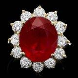14k Yellow Gold 11.00ct Ruby 2.05ct Diamond Ring