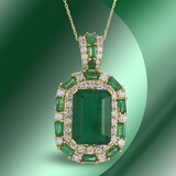 14K Gold 12.68cts Emerald & 2.68cts Diamond Pendant