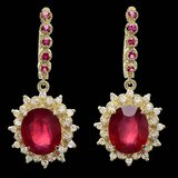 14k Gold 14.4ct Ruby 1.20ct Diamond Earrings
