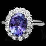 14k White Gold 3ct Tanzanite 1.00ct Diamond Ring