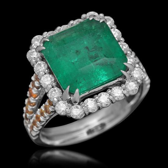 18K Gold 4.04 Emerald 1.37 Diamond Ring