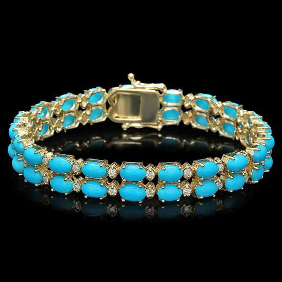 14K Gold 16.43ct Turqoise 1.20ct Diamond Bracelet