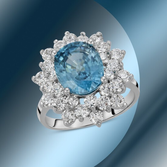 14K Gold 6.44cts Blue Zircon & 1.71cts Diamond Ring
