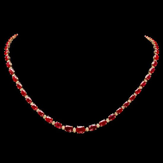 14k Gold 27.50ct Ruby 1.50ct Diamond Necklace