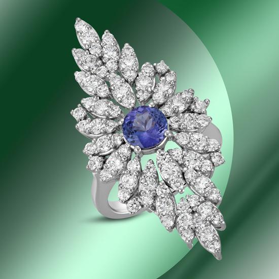 14K Gold 1.40cts Tanzanite & 2.74cts Diamond Ring