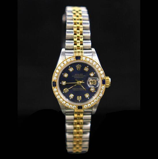 Rolex Two-Tone DateJust 26mm Diamond Dial & Bezel Aprox. 1.1 cts. (4) Sapphires Womens Wristwatch