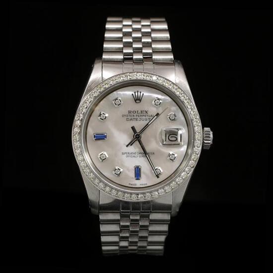 Rolex DateJust SS 36mm Custom Diamond Bezel Men's Wristwatch