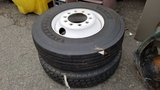 (2) Firestone 11r22.5 tires and rims
