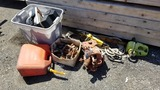 Lot - chain saws, gas can, misc tools, rope,