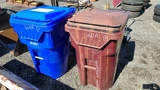 (2) Poly trash cans