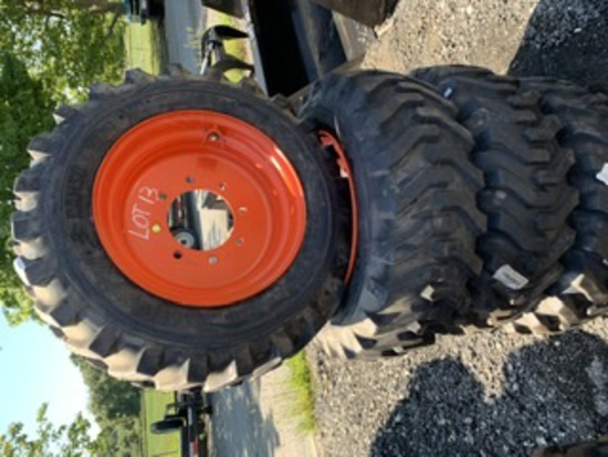 4 Camso Skidsteer Tires and Rims 10-16.5