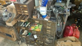 Cabinet with assorted collets and drill bits