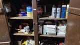 Contents of paint and body supply cabinet