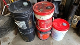 Lot - 25 gallons misc. Oil and lubricants