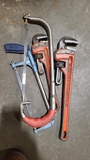 Lot - pipe wrenches, etc